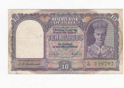 10 Rupees Fine+-Vf  Banknote From British India 1943!pick-24!!