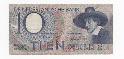 10 Gulden Fine Banknote From German Occupied Netherlands 1944!pick-59