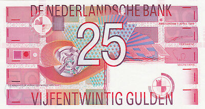 25 Gulden Aunc-Unc Crispy Banknote From Netherlands 1989!pick-100