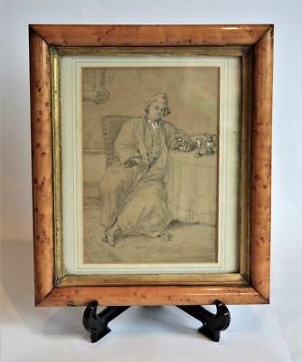 VERY FINE ANTIQUE 18thC GEORGIAN PORTRAIT PENCIL DRAWING OF A SEATED GENTLEMAN