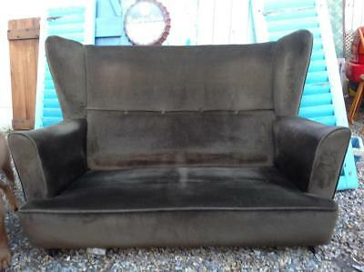 Vintage Howard Keith Two Seater Wingback Sofa Reqs Cushions 50s Mid Century Chic