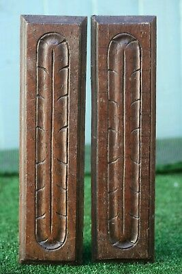 SUPERB PAIR: 18thC GOTHIC WOODEN OAK ARCHITECTURAL RELIEF CARVED PANELS c1790s