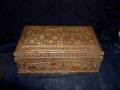 Vintage Antique Chinese Hand Carved Wooden Grapevine Bamboo Effect Box