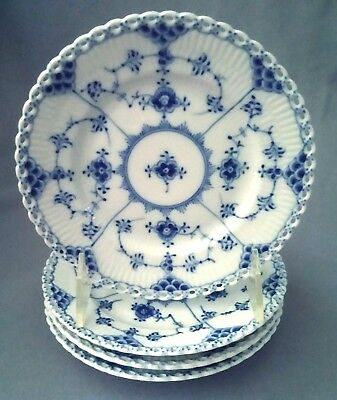Royal Copenhagen Blue Fluted-4 Full Lace Bread+Butter Plates #1084 - 1950s/60s