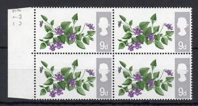 9d FLOWERS (NON-PHOSPHOR) UNMOUNTED MINT BLOCK + PERFORATION SHIFT