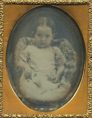 1840 Cased Ninth Plate Daguerreotype - Curious Baby Girl Seated On A Pillow