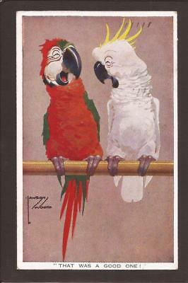 """Lawson Wood Comic. Parrot & Cockatoo telling Jokes. """"That Was A Good One!"""" 1930."""