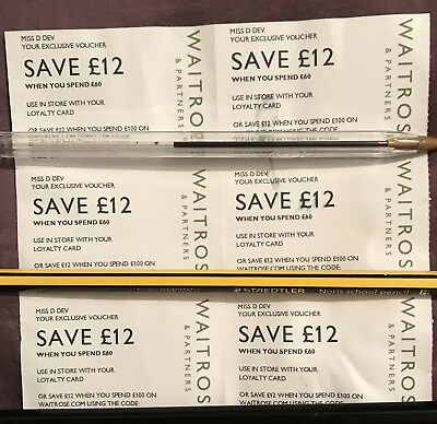 WAITROSE MONEY OFF VOUCHERS £72 OFF DISCOUNT SHOP GROCERY IN STORE x6 FREEPOST