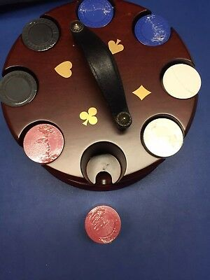 Mahogany Rotating Poker Chip Carousel Caddy by Bombay. Never Used! Chips Sealed!