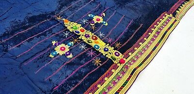 Vintage *collectible* Pashtun Afghan Embroidery Tribal Kuchi Velvet Stole Shawl