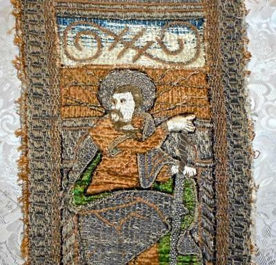 EXQUISITE RARE FRAGMENT 17th CENTURY ORPHREY EMBROIDERY, FRENCH OR ITALIAN 1.
