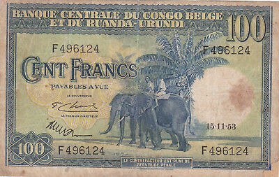 100 Francs Fine Banknote From Belgian Congo 1946!pick-17!rare