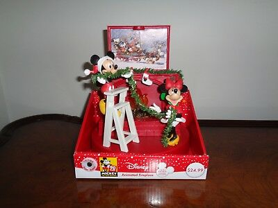 Animated, Lighted, Musical Disney Mickey and Minnie Mouse Christmas Fireplace