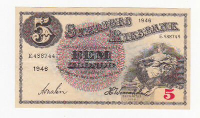 5 Kronor Extra Fine Crispy Banknote From Sweden 1946!pick-33