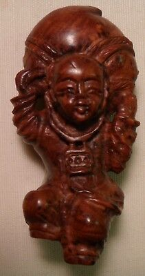 Vintage Chinese Hand Carved Wood Figurine Dancing Man with Basket or?