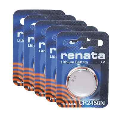 5pk Renata Coin Cell Battery CR2450 3V Lithium Replaces DL2450, BR2450