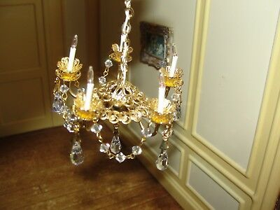 Dollhouse Miniature 5 Arm Chandelier w Hanging Crystals    Electrified