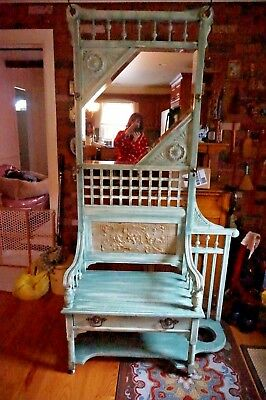 Vintage Shabby Hall Stand Hall Tree Stand