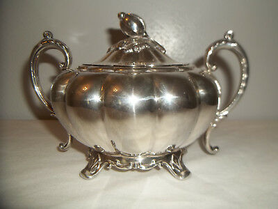 "Vintage Melon Sheffield Reproduction Silver Plated Sugar Bowl 6 1/2"" Wide"
