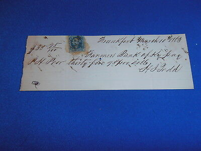 1863 Personal  Bank Check From Louisville Ky  W/revenue Stamp