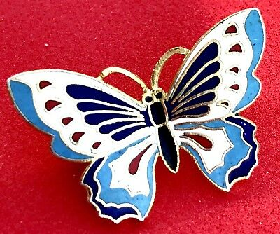 Vintage Enamel Gold Butterfly Brooch Stamped Pin Estate Signed Bug Korea Antique