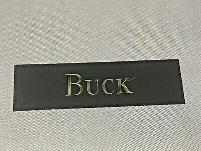 Brass Engraved Buck Knives Plate Plaque for Display Cases 3in