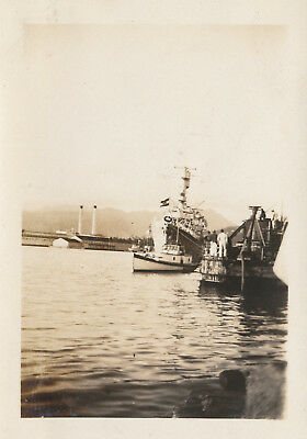 1933  Honolulu Harbor, Navy ship,  Hawaii  Photo