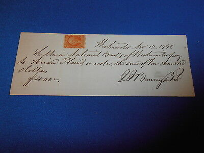1868 Personal  Bank Check From Westminister Ky  W/revenue Stamp