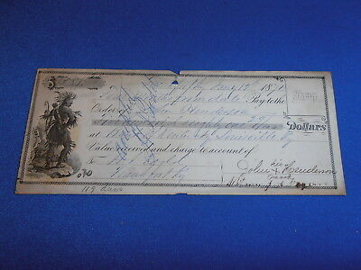 1871 Engraved Personal Bank Check From J Leudman, Frankfort Ky