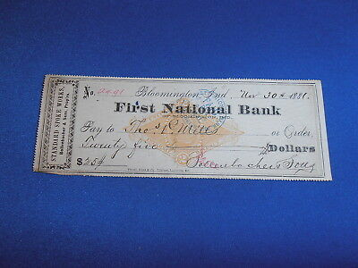 1881 First National Bank, Bloomington In Bank Check On Scott# Rn-G1
