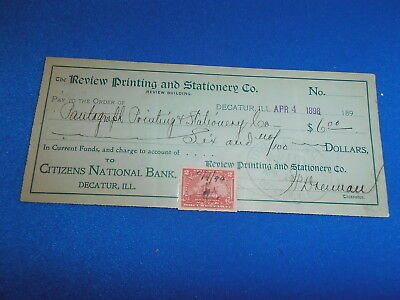 1898 Citizens National Bank, Decatur Bank Check W/revenue Stamp