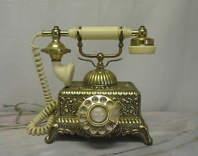 Vintage Brass & Gold Plated Victorian French Style Ornate Rotary Phone