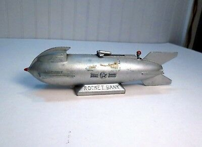 VTG Mercury Rocket Ship Mechanical Bank Duro Mold First National Pittsburgh PA