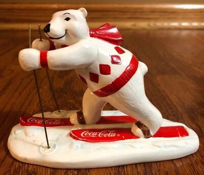 1995 vintage Coca Cola Polar Bear Figurine Skiing 157953 white with red skies