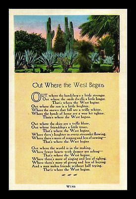 Dr Jim Stamps Us Where The West Begins Poem Linen Topical Postcard