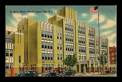 Dr Jim Stamps Us A Harry Moore School Jersey City New Jersey Linen Postcard
