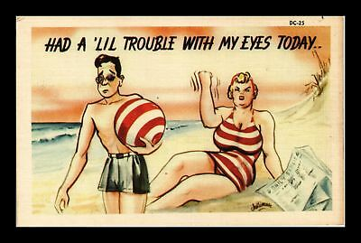 Dr Jim Stamps Us Had A Little Trouble With My Eyes Today Linen Comic Postcard