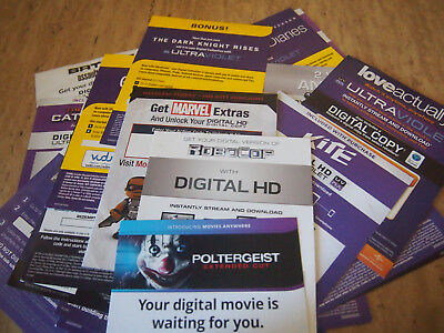Assorted Digital HD Movie Codes w/ DVD Disc!! NO Blu-Ray Disc!!