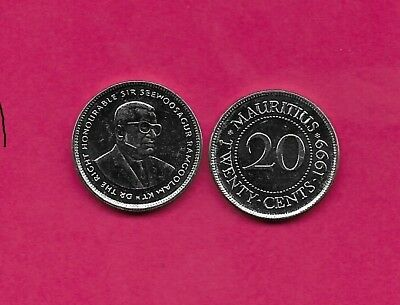 Mauritius Rep  20 Cents 1999 Unc Sir Seewoosagur Ramgoolam 3/4 Right,value Withi