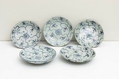 Group Of 5 Chinese Antique/Vintage Ming Blue And White Dishes,shipwreck
