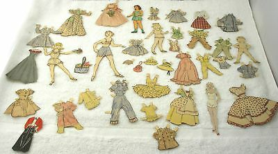 Vintage 1940s or 50s Paper Dolls, 5 Figures, Over 20 Outfits & Acce