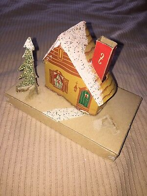 Cardboard Putz Village House 1940s USA