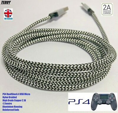 PS4 Dualshock 4 controller Charger USB Micro Nylon Braided Cable 2 Metres PS4USB