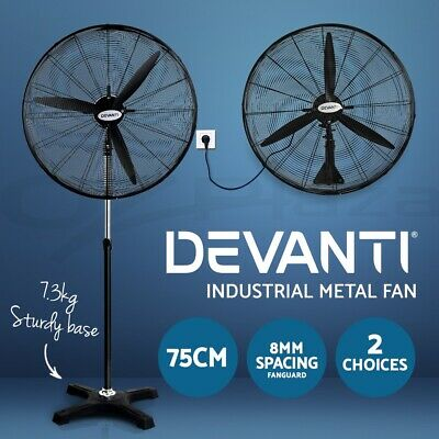 Devanti 75cm Industrial Fans Metal Wall Mounted Pedestal Fan High Velocity