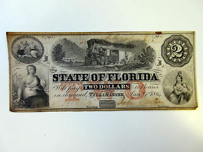 Tallahassee, FL. State of Florida 1864 $2 Issued Obsolete Banknote Wmk Toned