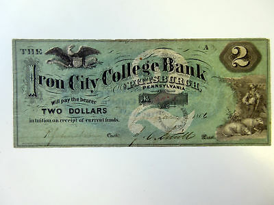 PA. Iron City College Bank, 1866 Issued $2 College Currency Obsolete VF