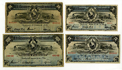 Banco Americano de Guatemala, 1915-1923 Lot of 4 issued notes 1 to 100 Pesos F/V