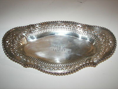 "Beautiful Vintage 12"" Pierced Sterling Bread Tray Dish Bowl Platter Monogram 212"