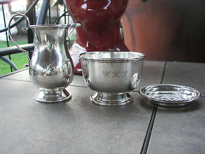 WOW Vintage Reproduction Sterling Silver George II Cream Pitcher & Sugar Bowl