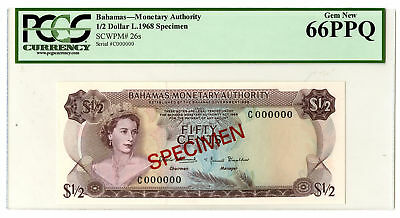 Bahamas Monetary Authority, 1968 1/2 Dollar, $1/2, P-26s PCGS Gem Unc 66 PPQ